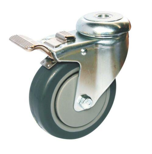Bolt Hole Fitting Castor Black - 100mm - Castors-Wheels - OnEquip