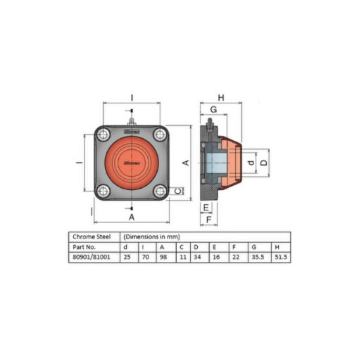 Movex UCF 205 - Closed - 25mm