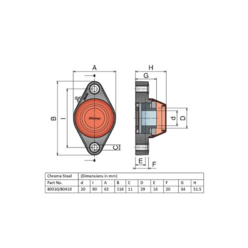Movex UCFA 204 - Open - 20mm